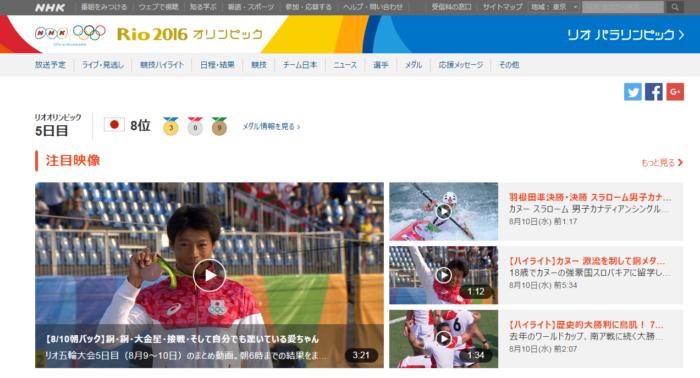リオ2016オリンピック動画