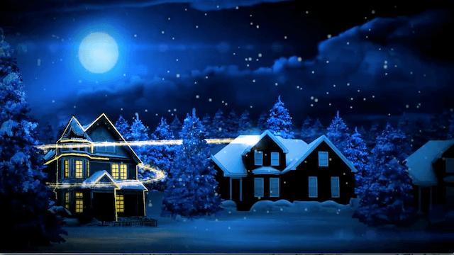 ライトアップする家々