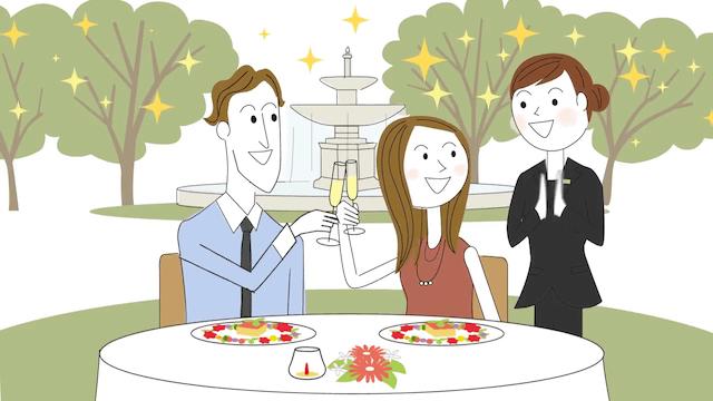 記念日で食事をする夫婦