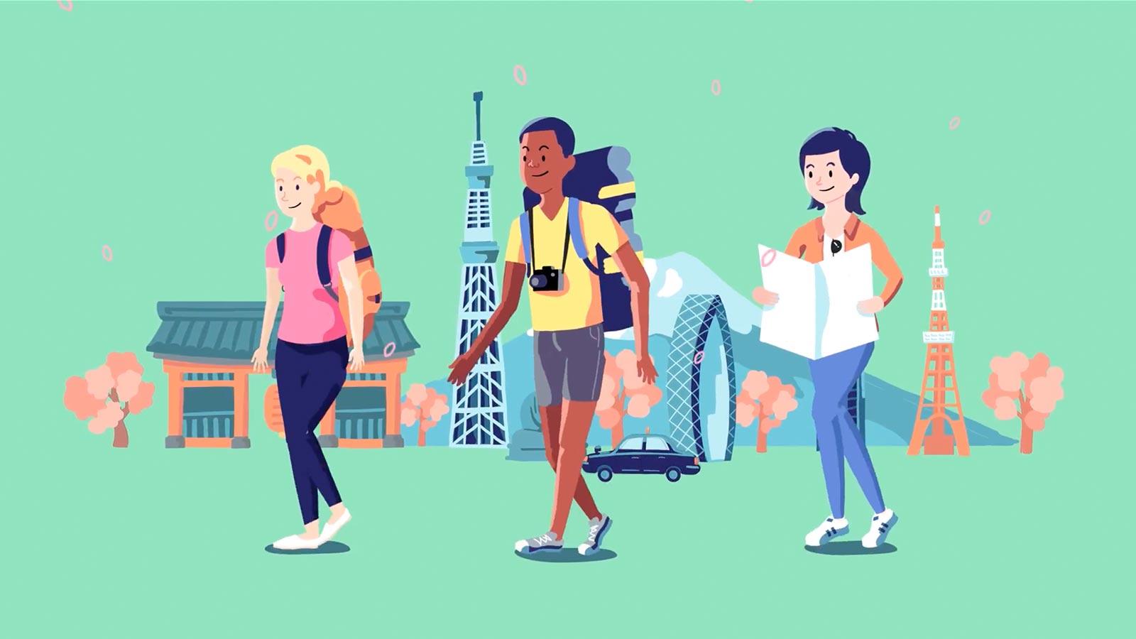 日本を訪れた外国人旅行客