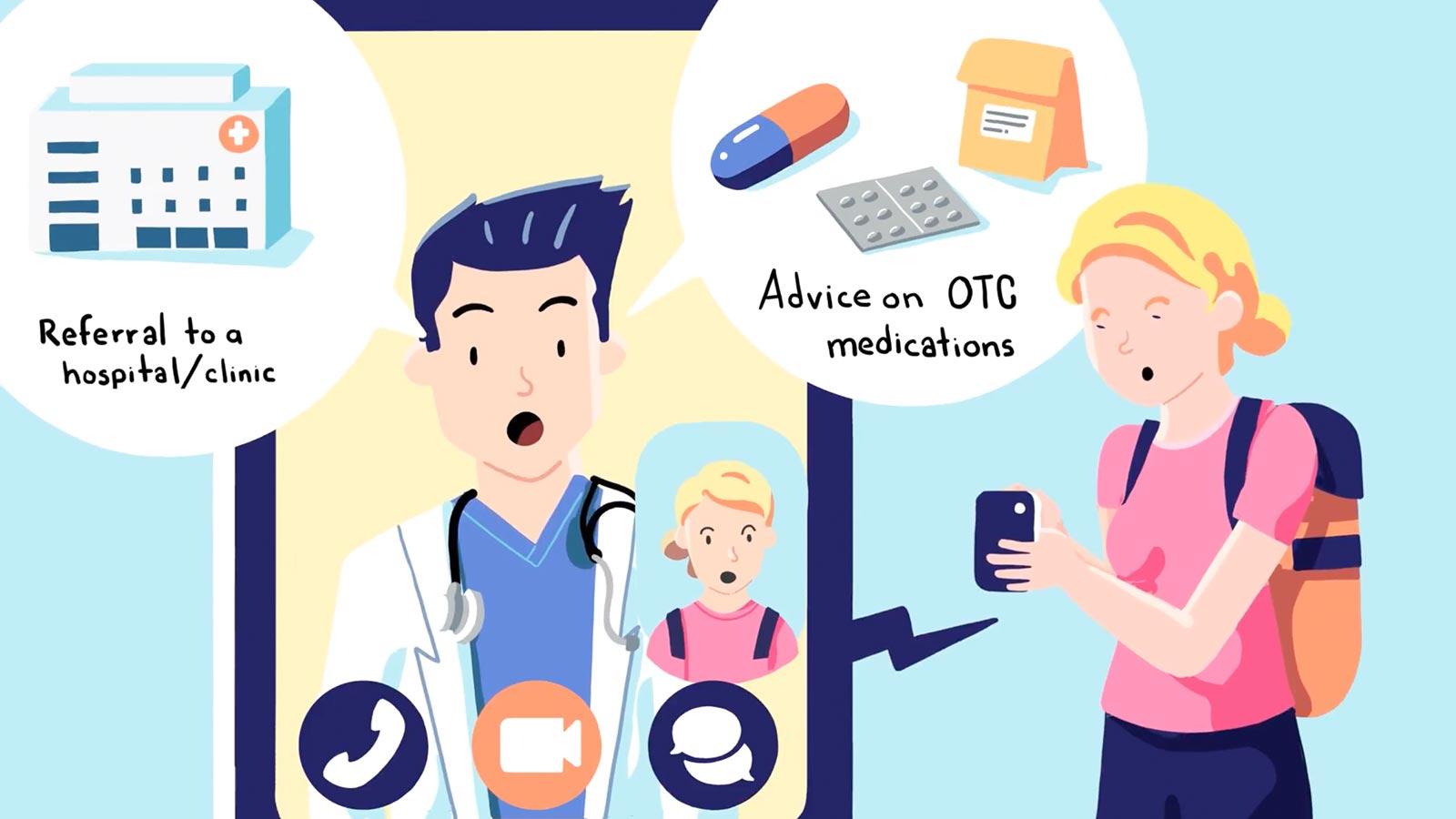 医者と電話する外国人旅行客