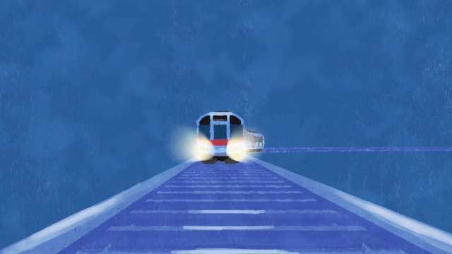 鉄道を走る電車