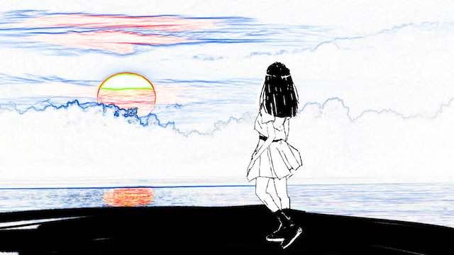 太陽を見つめる女の子