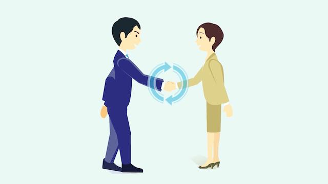 握手する就活生と企業人事担当者