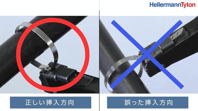 正しい挿入方向と誤った挿入方向